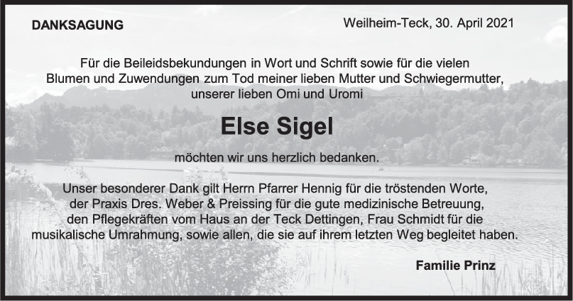 Danksagung Else Sigel <br><p style=