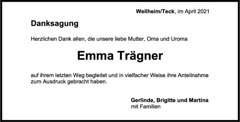 Danksagung Emma Trägner <br><p style=
