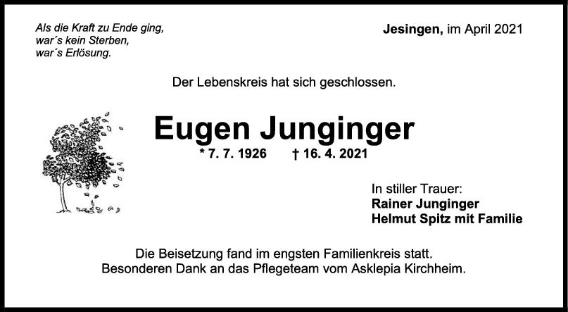 Trauer Eugen Junginger <br><p style=