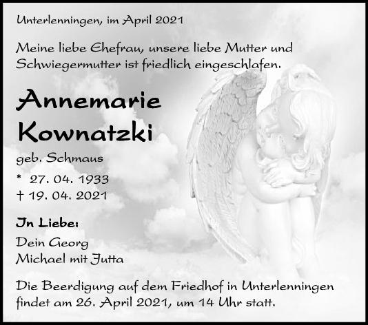 Trauer Annemarie Kownatzki <br><p style=