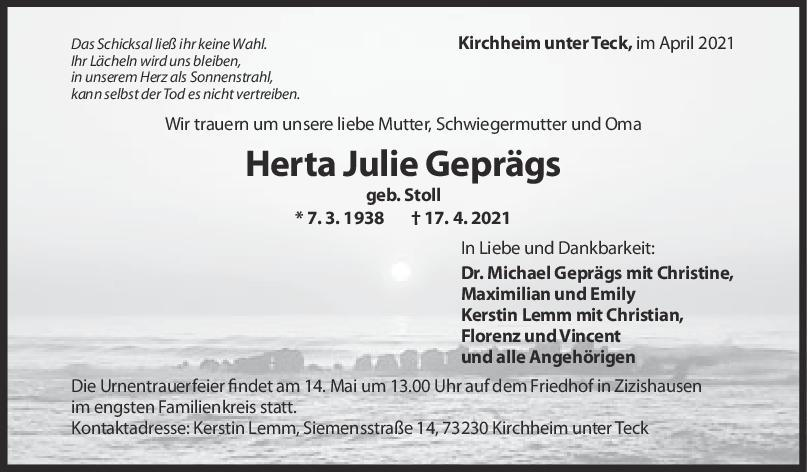 Trauer Herta Julie Gepräg <br><p style=
