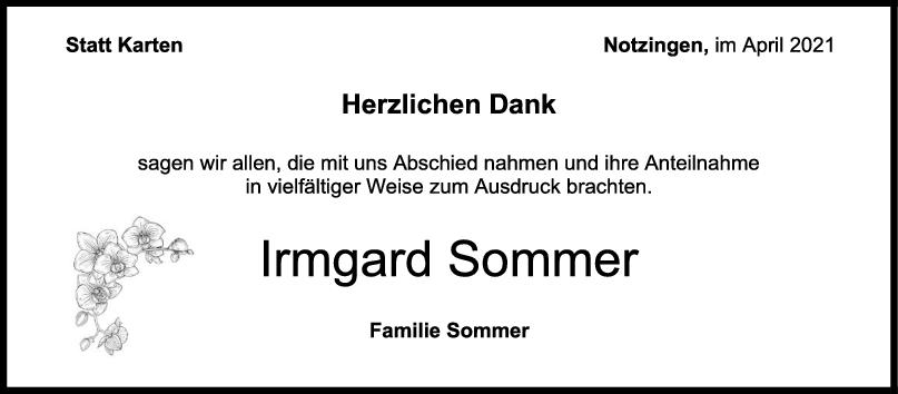 Danksagung Irmgard Sommer <br><p style=