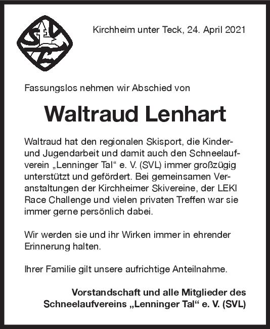 Nachruf Waltraud Lehnhart <br><p style=