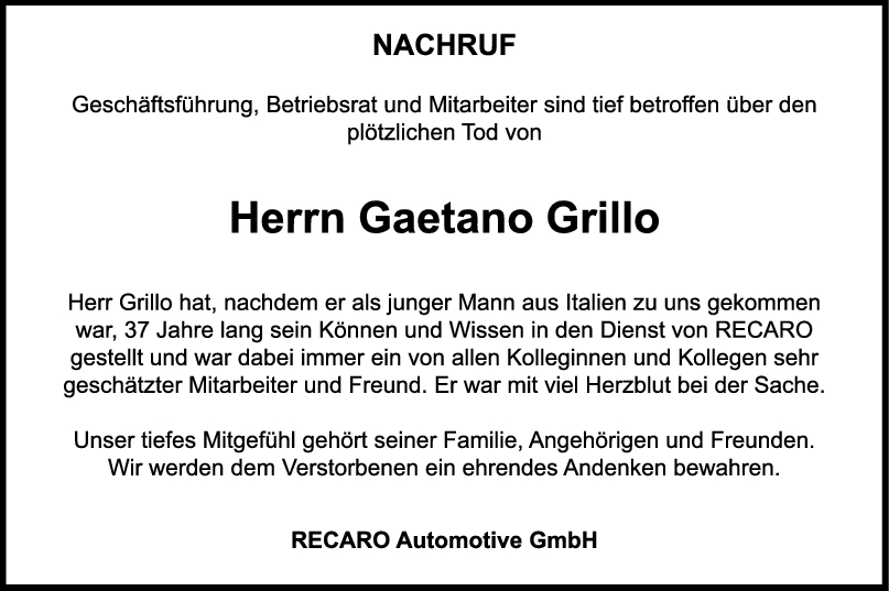 Nachruf Gaetano Grillo <br><p style=
