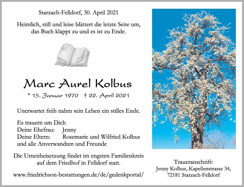 Trauer Marc Aurel Kolbus <br><p style=