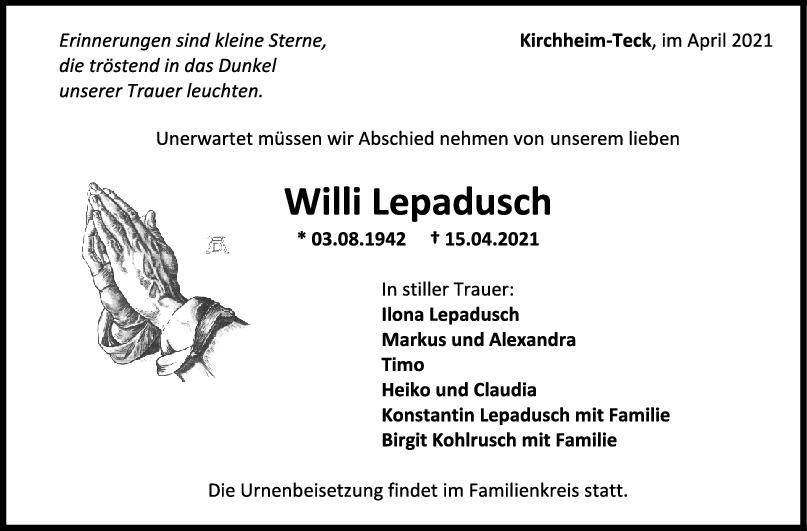 Trauer Willi Lepadusch <br><p style=