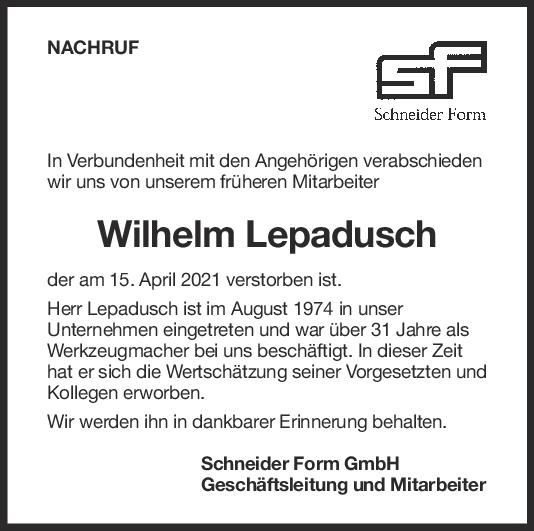 Nachruf Wilhelm Lepadusch <br><p style=
