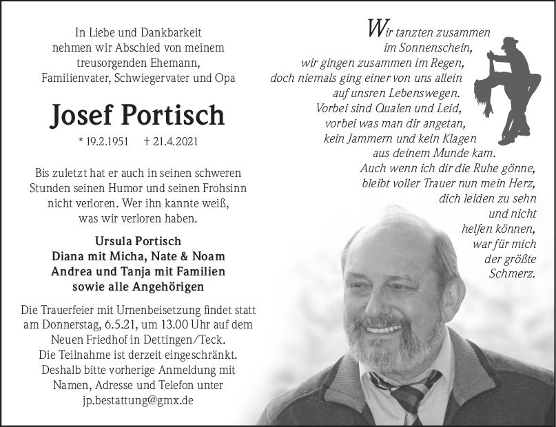 Trauer Josef Portisch <br><p style=