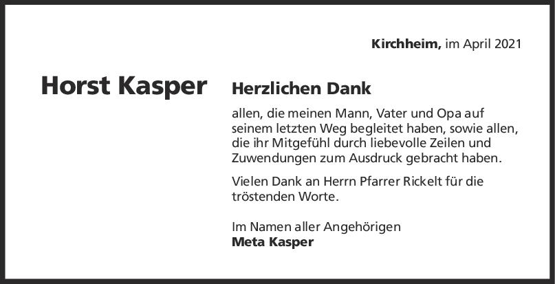 Danksagung Horst Kasper <br><p style=
