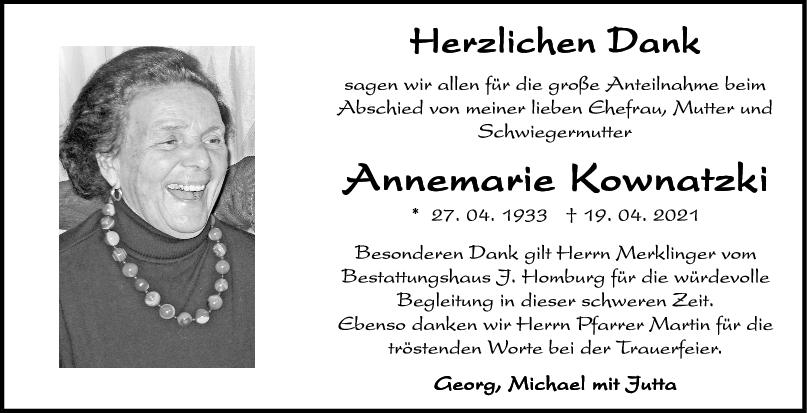 Danksagung Annemarie Kownatzki <br><p style=