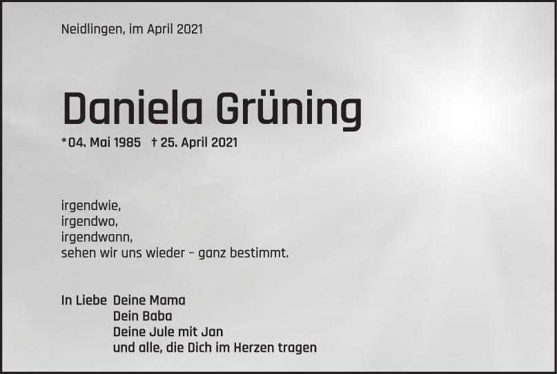 Trauer Daniela Grüning <br><p style=
