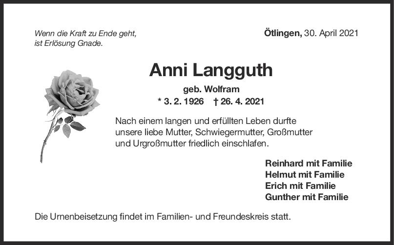 Trauer Anni Langguth <br><p style=