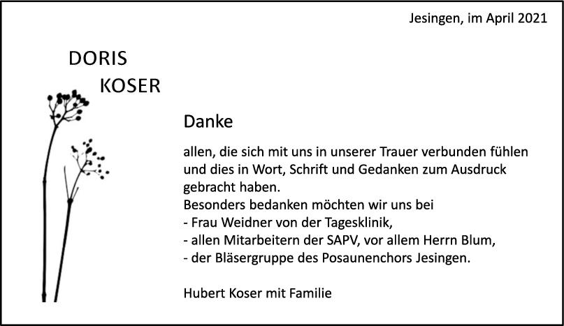 Danksagung Doris Koser <br><p style=