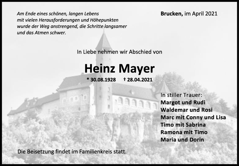 Trauer Heinz Mayer <br><p style=