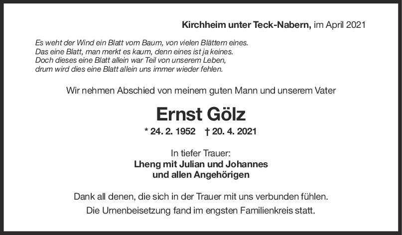 Trauer Ernst Gölz <br><p style=