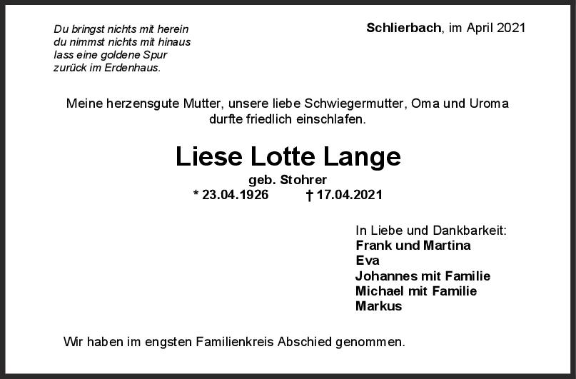 Trauer Liese Lange <br><p style=