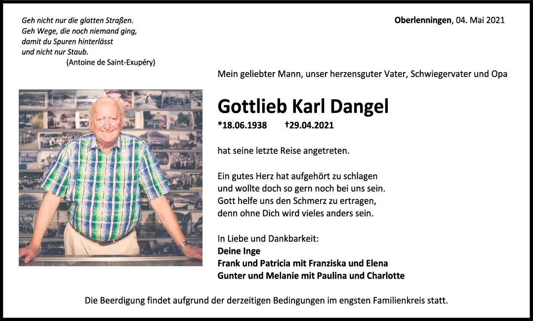 Trauer Gottlieb Karl Dangel <br><p style=