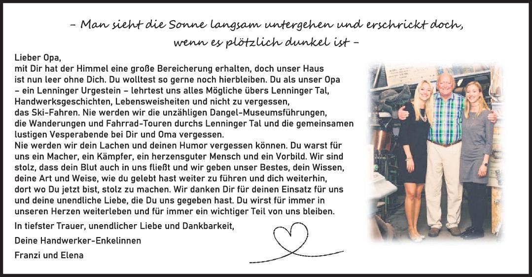 Nachruf Opa Gottlieb Karl Dangel <br><p style=