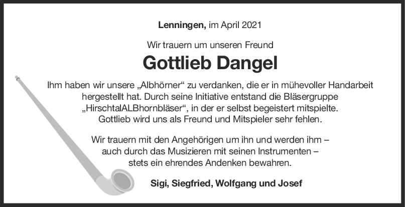 Nachruf Gottlieb Karl Dangel <br><p style=