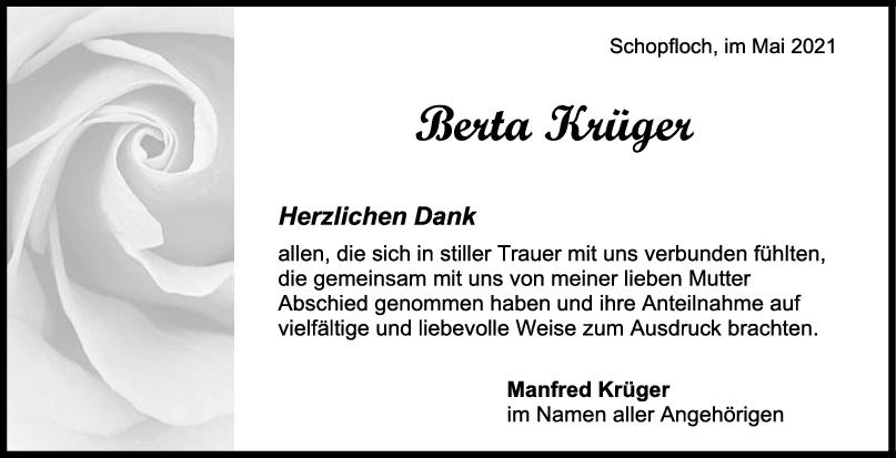 Danksagung Berta Krüger <br><p style=