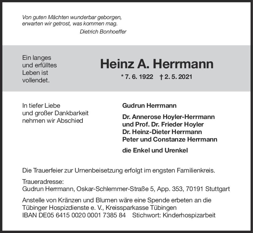 Trauer Heinz A. Herrmann <br><p style=