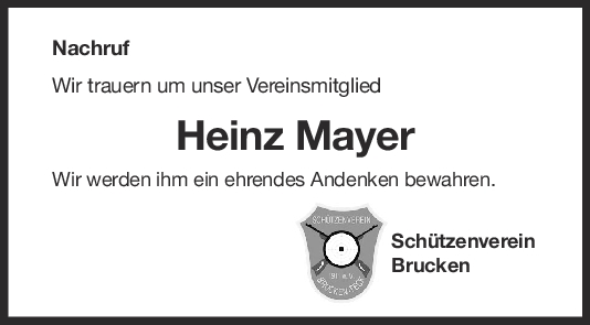 Nachruf Heinz Mayer <br><p style=