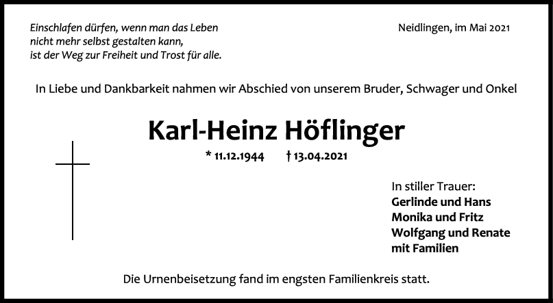 Trauer Karl-Heinz Höflinger <br><p style=