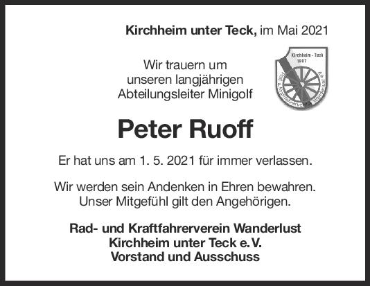 Nachruf Peter Karl Ruoff <br><p style=