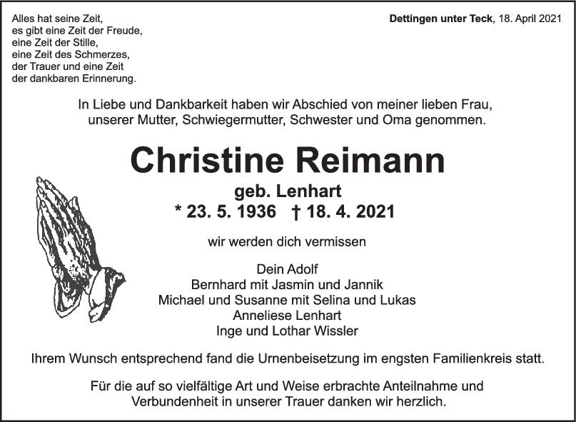 Trauer Christine Reimann <br><p style=