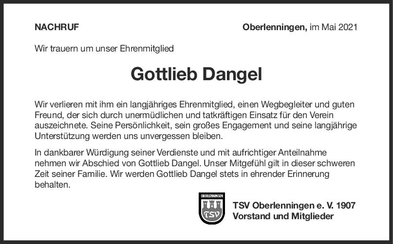 Nachruf Gottlieb Dangel <br><p style=