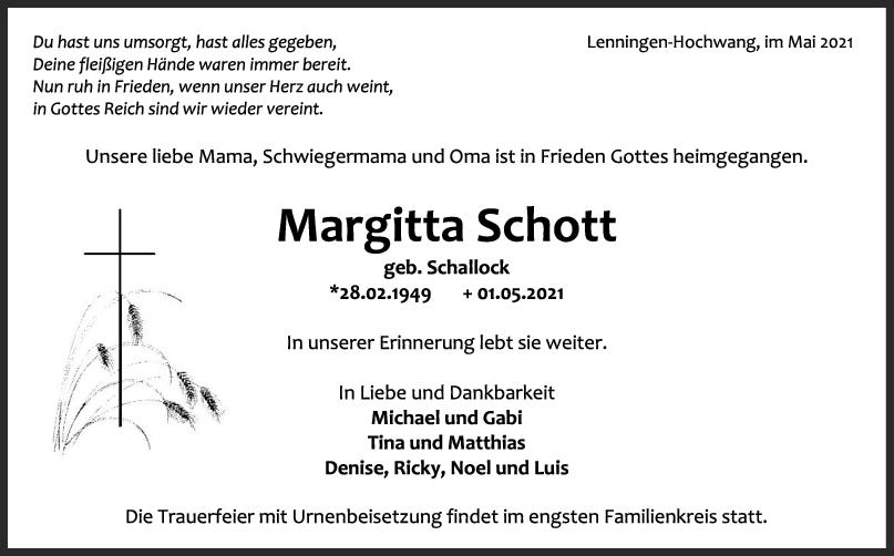Trauer Margitta Schott <br><p style=