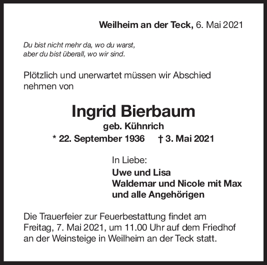 Trauer Ingrid Bierbaum <br><p style=