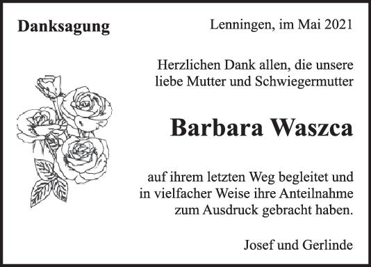 Danksagung Barbara Waszca <br><p style=