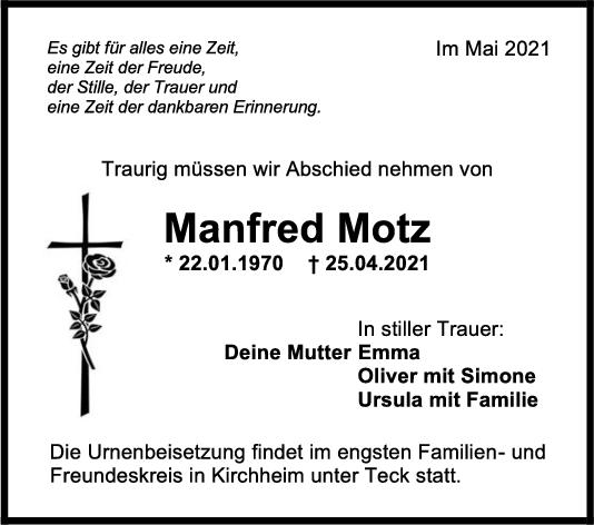 Trauer Manfred Motz <br><p style=