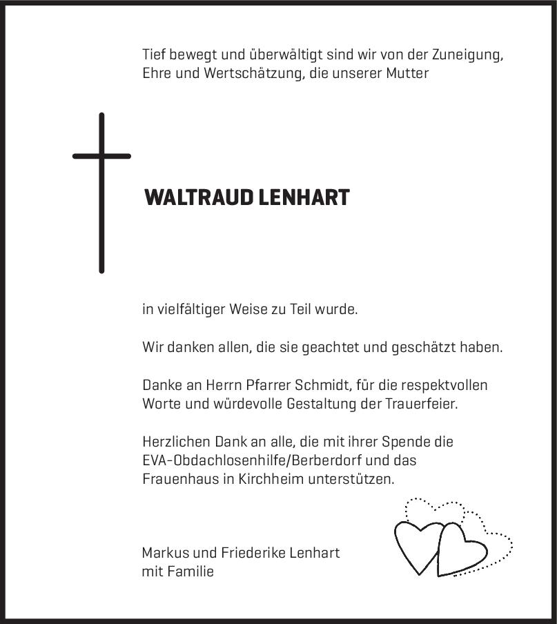 Danksagung Waltraud Lehnart <br><p style=