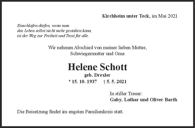 Trauer Helene Schott <br><p style=