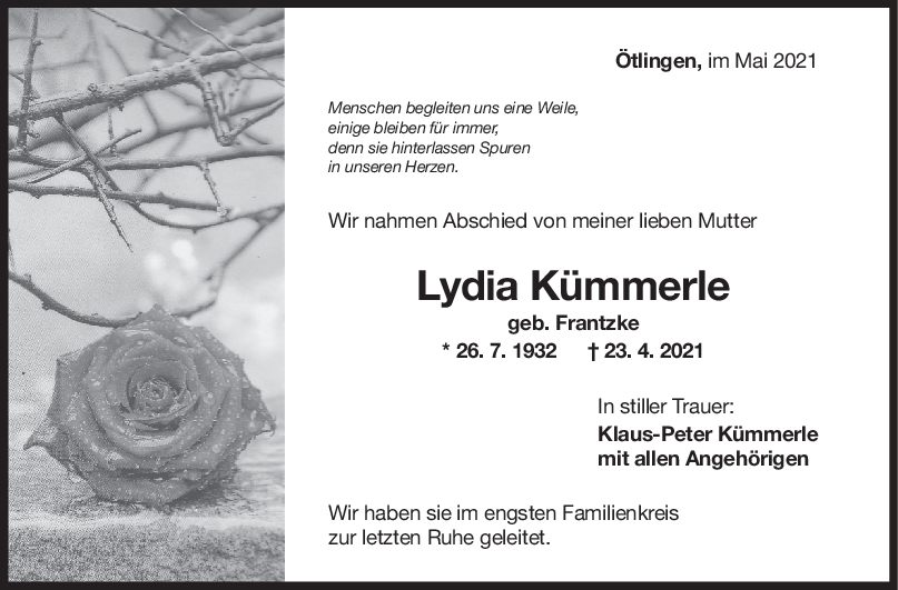 Trauer Lydia Kümmerle <br><p style=