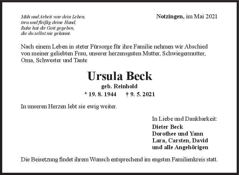 Trauer Ursula Beck <br><p style=