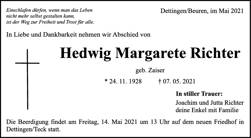 Trauer Hedwig Margarete Richter <br><p style=