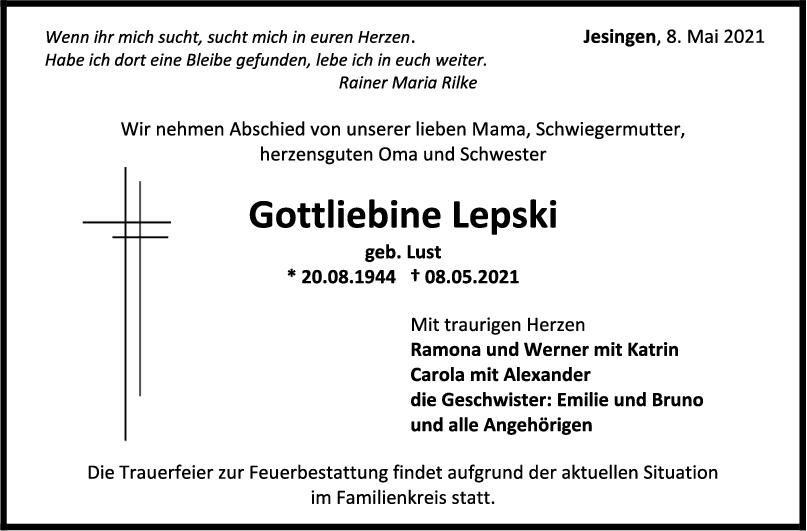 Trauer Gottliebine Lepski <br><p style=