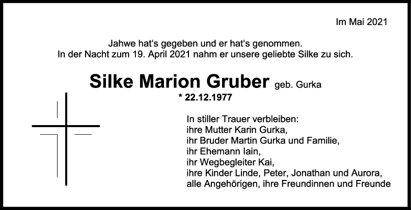 Trauer Silke Marion Gruber <br><p style=