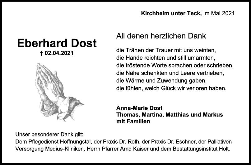 Danksagung Eberhard Dost <br><p style=