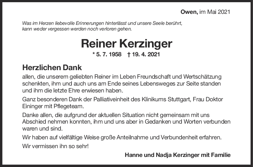 Danksagung Reiner Kerzinger <br><p style=