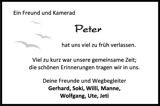Nachruf Peter <br><p style=