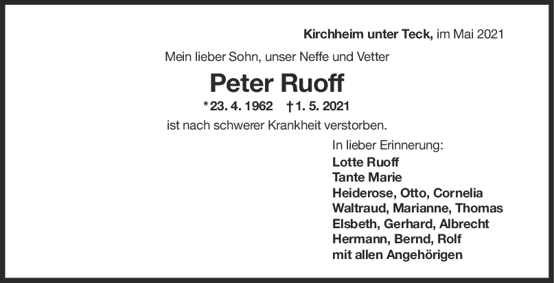 Trauer Peter Ruoff <br><p style=