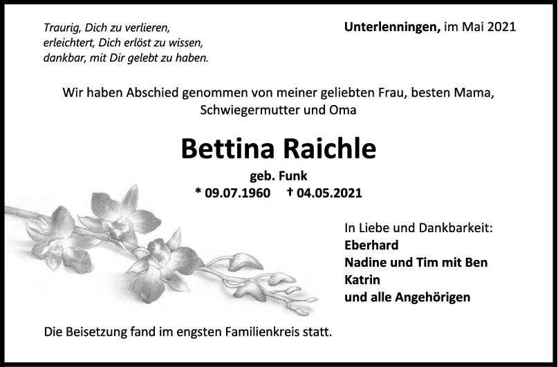 Trauer Bettina Raichle <br><p style=