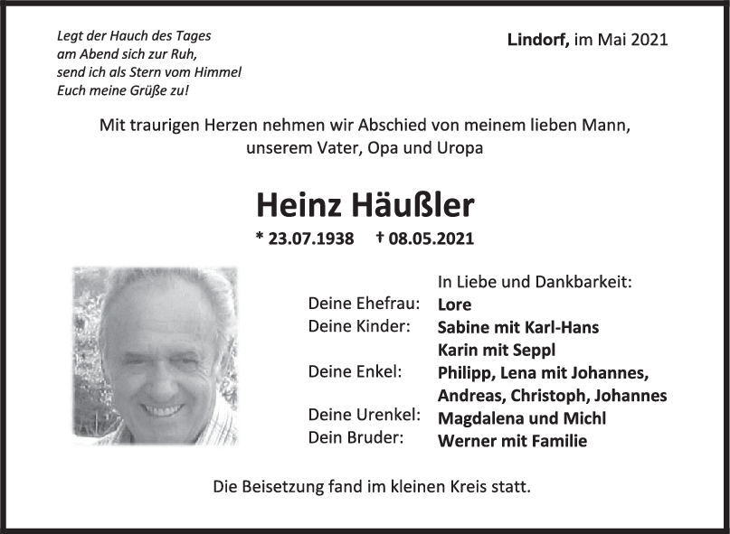 Trauer Heinz Häußler <br><p style=