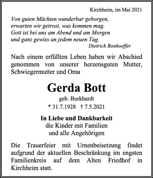 Trauer Gerda Bott <br><p style=