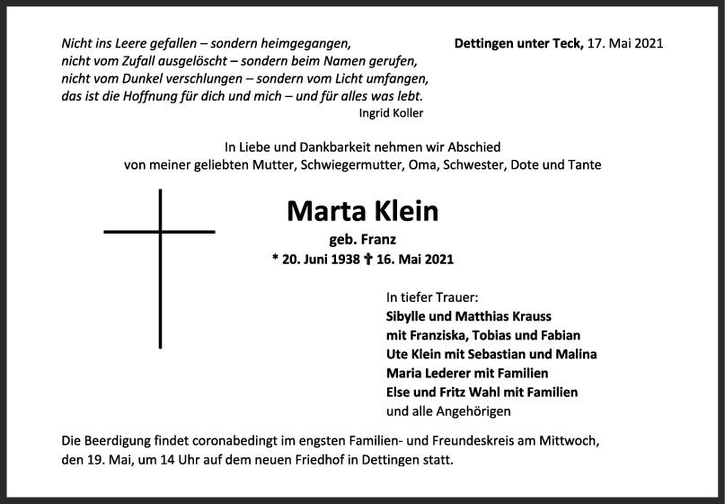 Trauer Marta Klein <br><p style=