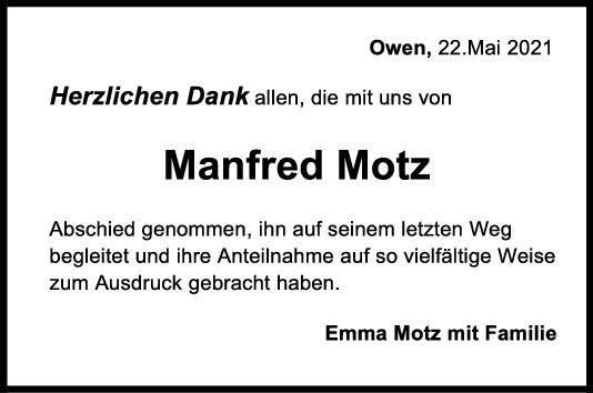 Danksagung Manfred Motz <br><p style=